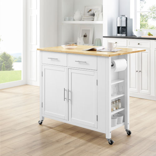 Savannah White 42-Inch Wood Top Kitchen Cart