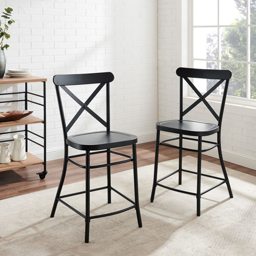 Camille Matte Black Counter Stool Set , Two Piece