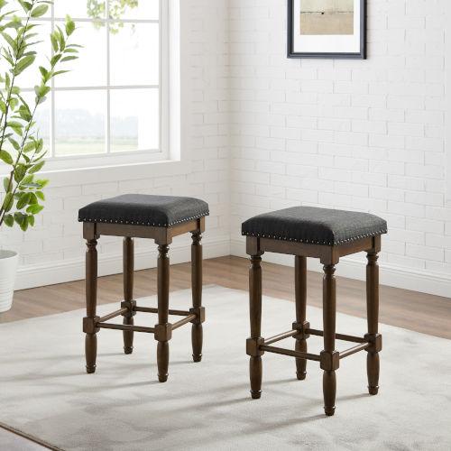 Aldrich Charcoal Dark Brown Two-Piece Counter Stool Set