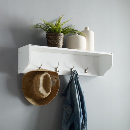 Harper White Entryway Shelf