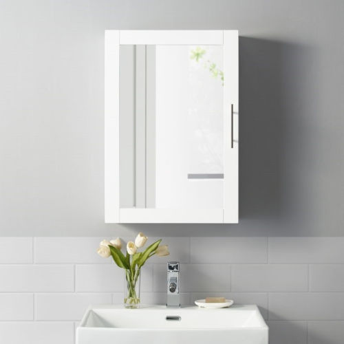Savannah White Mirrored Wall Cabinet