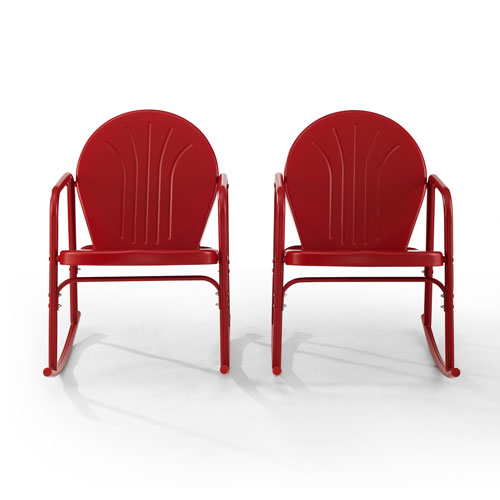 Griffith Bright Red Gloss Outdoor Rocking Chairs, Set of Two