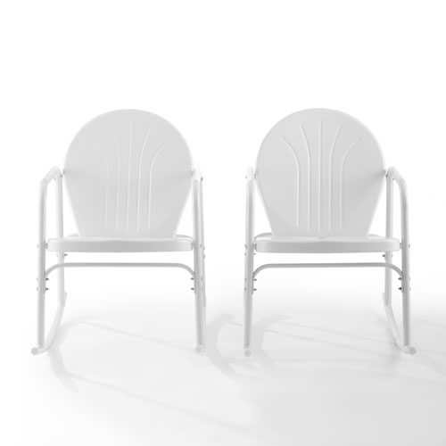 Griffith White Gloss Outdoor Rocking Chairs, Set of Two
