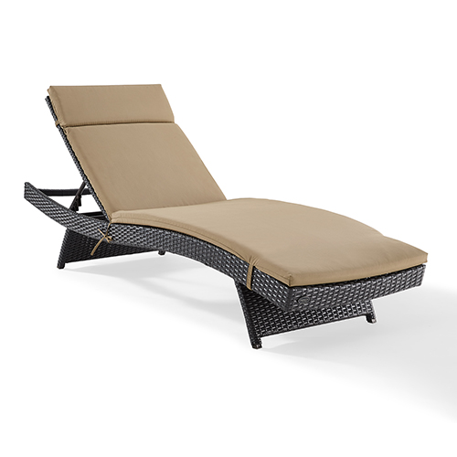 Biscayne Brown and Mocha Wicker and Steel Outdoor Chaise Lounge