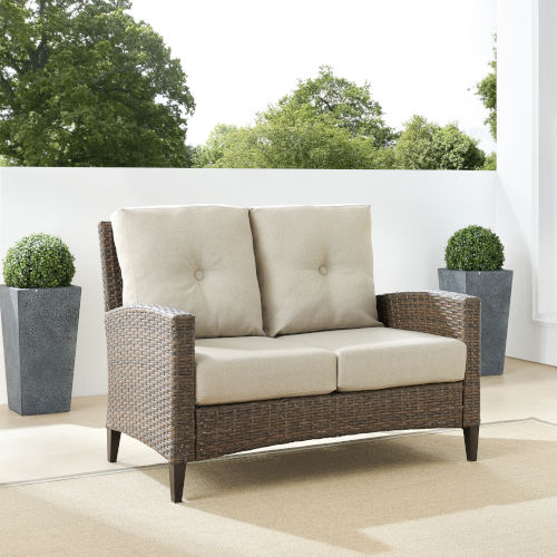 Rockport Brown Outdoor Wicker High Back Loveseat