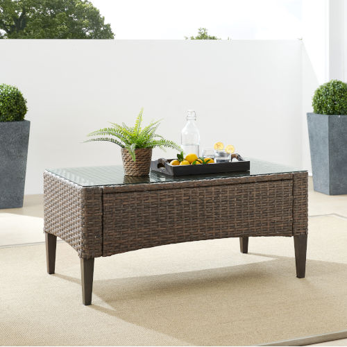 Rockport Brown Outdoor Wicker Coffee Table