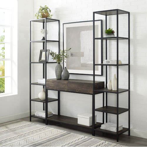 Jacobsen Brown Ash and Matte Black Console Table and Two Narrow Etageres Set