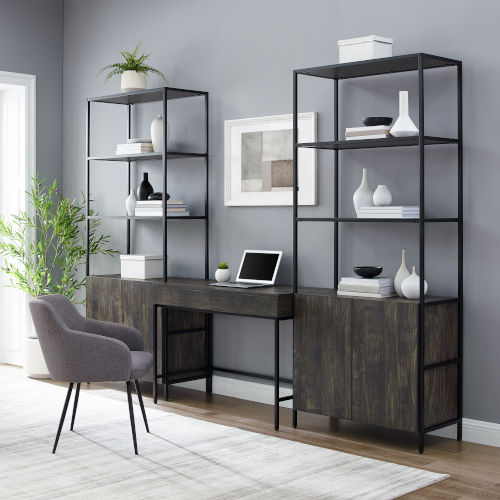 Jacobsen Brown Ash Matte Black Three-Piece Desk and Etagere Set