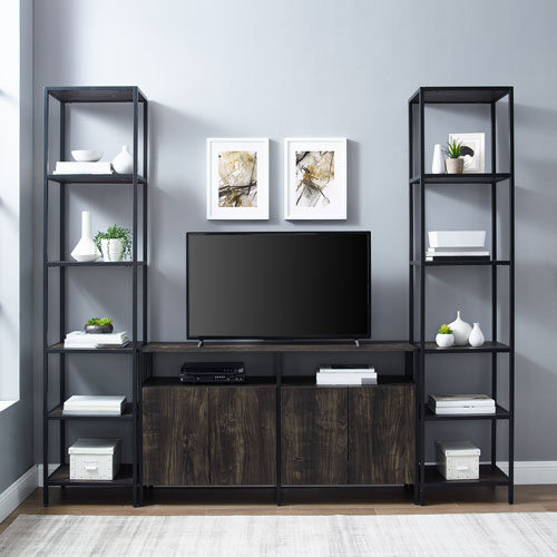 Jacobsen Brown Ash Matte Black Three-Piece Entertainment Set