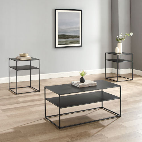 Braxton Matte Black Coffee Table Set, Three-Piece