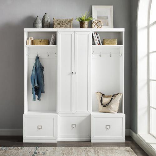 Harper White Pantry Closet and 2 Hall Tree Set, 3-Piece