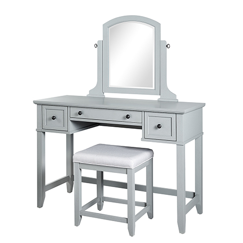 Vista Solid Hardwood and Veneer Vanity Table with Mirror and Stool