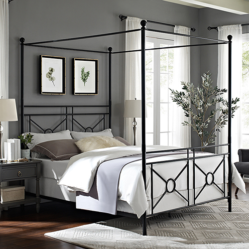 Montgomery Black Steel King Canopy Bed