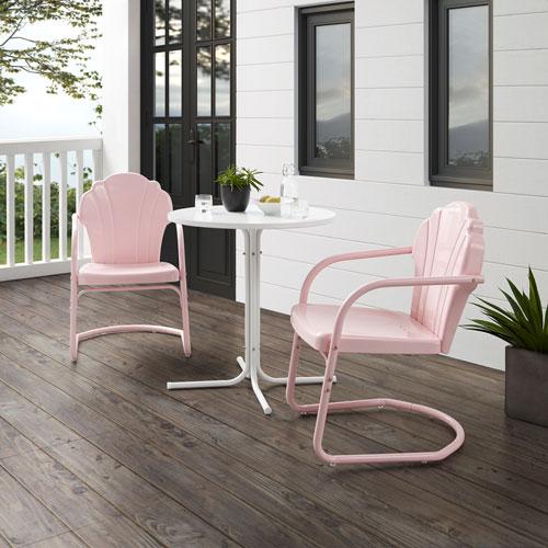 Tulip Pastel Pink Gloss and White Satin Outdoor Bistro Set, Three-Piece