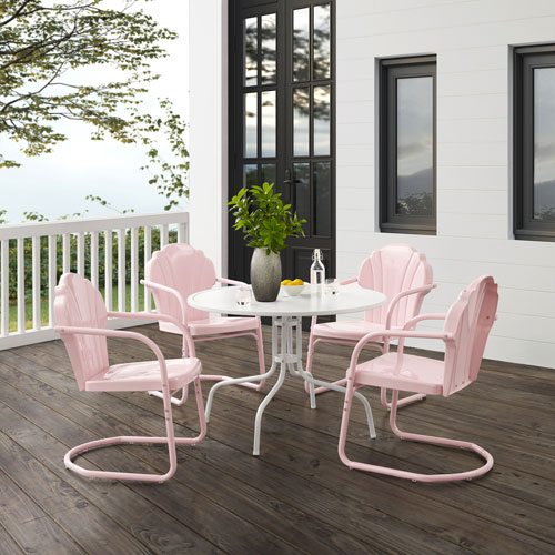 Tulip Pastel Pink Gloss and White Satin Outdoor Dining Set, Five-Piece