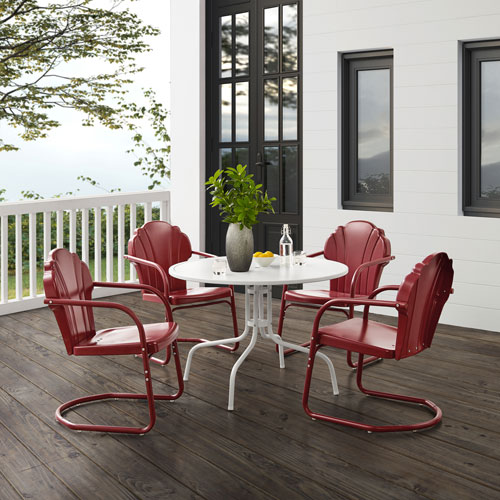 Tulip Dark Red Satin and White Satin Outdoor Dining Set, Five-Piece