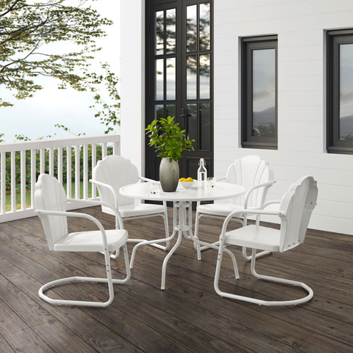 Tulip White Satin Outdoor Dining Set, Five-Piece