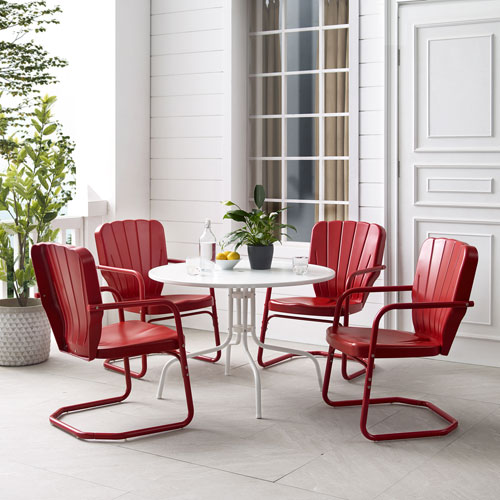 Ridgeland Bright Red Gloss and White Satin Outdoor Dining Set, Five-Piece