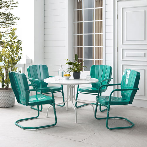 Ridgeland Turquoise Gloss and White Satin Outdoor Dining Set, Five-Piece