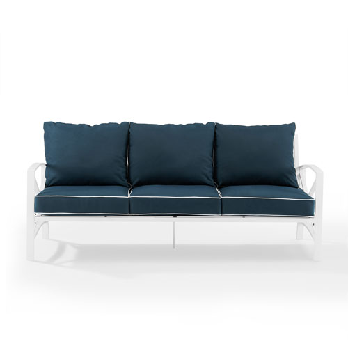Kaplan White and Navy Outdoor Metal Sofa