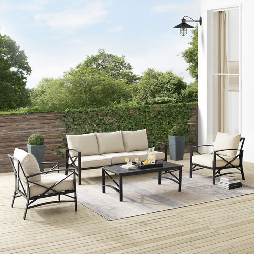Kaplan Oatmeal and Oil Rubbed Bronze Outdoor Sofa Set, Four Piece
