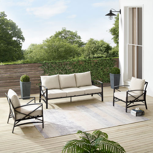 Kaplan Oatmeal and Oil Rubbed Bronze Outdoor Sofa Set, Three-Piece