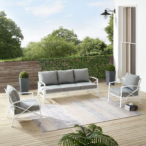 Kaplan Gray and White Outdoor Sofa Set, Three-Piece