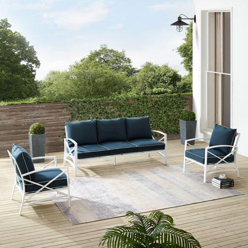 Kaplan Navy and White Outdoor Sofa Set, Three-Piece