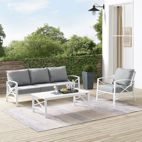 Kaplan Gray and White Outdoor Sofa Set with Coffee Table, Three-Piece