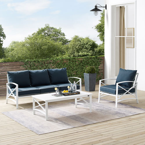 Kaplan Navy and White Outdoor Sofa Set with Coffee Table, Three-Piece