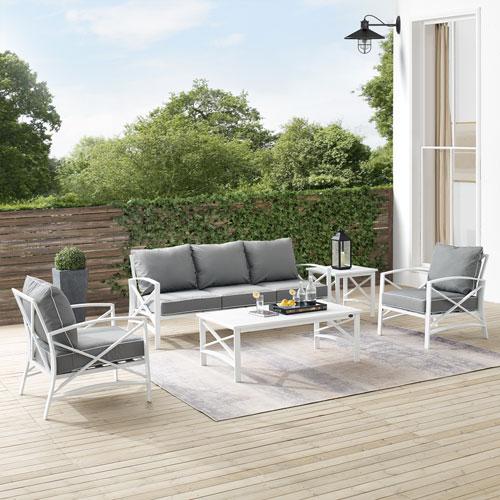 Kaplan Gray and White Outdoor Sofa Set, Five-Piece