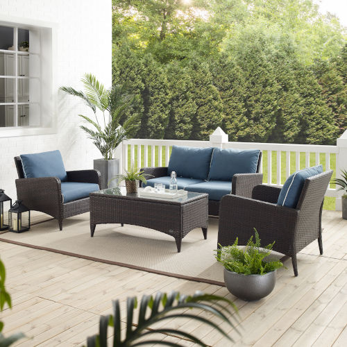 Kiawah Blue Brown Four-Piece Outdoor Wicker Conversation Set