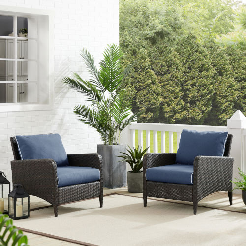 Kiawah Blue Brown Outdoor Wicker Chairs, Set of Two