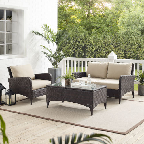 Kiawah Sand Brown Three-Piece Outdoor Wicker Conversation Set
