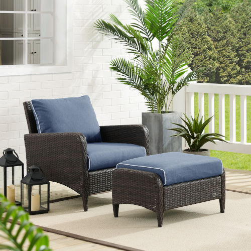 Kiawah Blue Brown Two-Piece Outdoor Wicker Chair Set