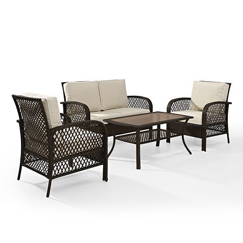 Tribeca Brown and Sand Four Piece Outdoor Wicker Seating Set