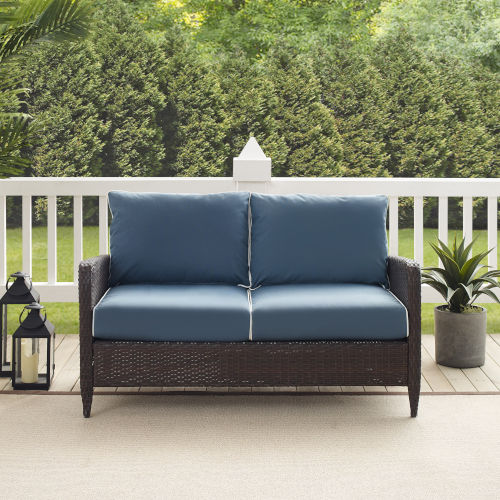 Kiawah Blue Brown Outdoor Wicker Loveseat