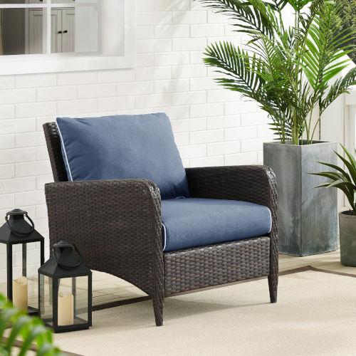 Kiawah Blue Brown Outdoor Wicker Arm Chair