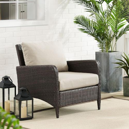 Kiawah Sand Brown Outdoor Wicker Arm Chair