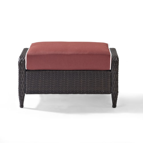 Kiawah Sangria Brown Outdoor Wicker Ottoman