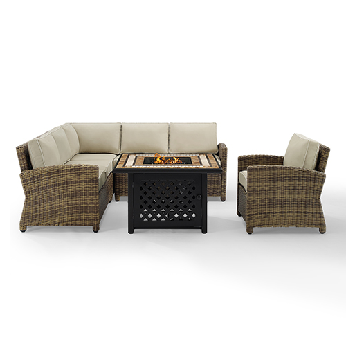 Bradenton Weathered Brown with Sand Cushion Five Piece Outdoor Corner Loveseat Set With Fire Table
