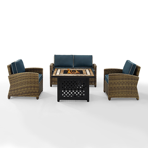 Bradenton Weathered Brown Cushion and Fire Table Four Piece Outdoor Loveseat