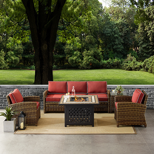 Bradenton Weathered Brown with Sangria Cushion Five Piece Outdoor Wicker Sofa Set with Side table and Fire Table