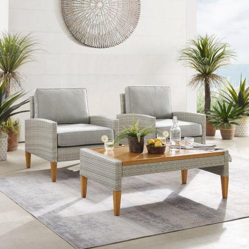 Capella Gray Outdoor Wicker Chair Set - Coffee table and Two Chair