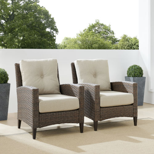 Rockport Brown Outdoor Wicker High Back Arm Chair Set, 2 Piece