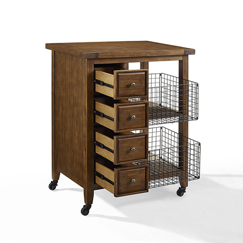 Roots Rack Kitchen Cart Pine: Crosley Furniture Roots Rack Natural Industrial Kitchen