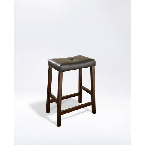 Crosley Furniture Upholstered Saddle Seat Bar Stool in Vintage Mahogany Finish with 24 Inch Seat Height- Set of Two