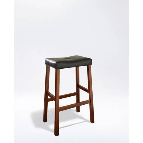 Upholstered Saddle Seat Bar Stool in Classic Cherry Finish with 29 Inch Seat Height- Set of Two