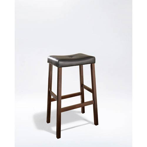 Crosley Furniture Upholstered Saddle Seat Bar Stool In Vintage Mahogany Finish With 29 Inch Height
