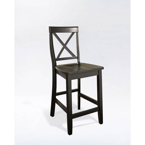 quality design 244a8 524a3 Crosley Furniture X-Back Bar Stool in Black Finish with 24 Inch Seat  Height- Set of Two